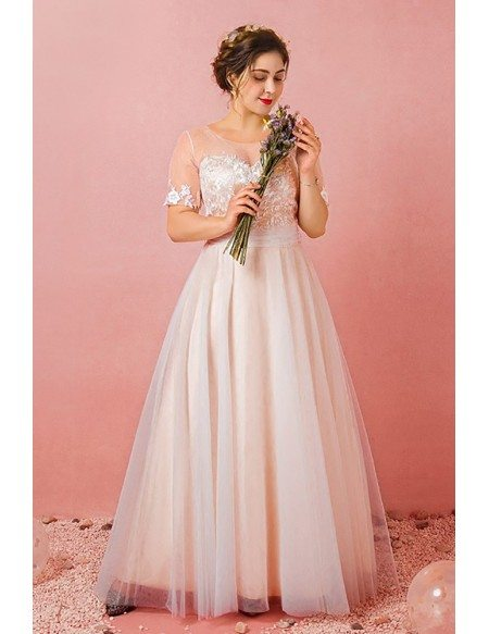 Custom Light Champagne Modest Wedding Reception Dress with Illusion Neck Short Sleeves Plus Size High Quality