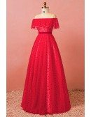 Custom Red Aline Polka Dot Off Shoulder Party Dress High Quality