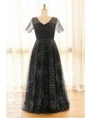 Custom Long Black Sparkly Sequins Formal Dress with Sheer Short Sleeves Plus Size High Quality