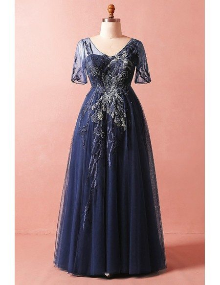 Custom Navy Blue Formal Party Dress Vneck with Short Sleeves High Quality