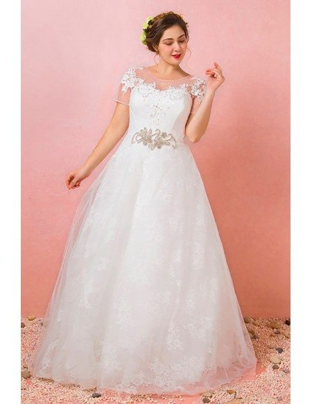 Custom Lace Jeweled Waist Plus Size Wedding Dress with Short Sleeves High Quality