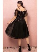 Custom Knee Length Black Party Dress with Flower Embroidery Puffy Sleeves Plus Size High Quality