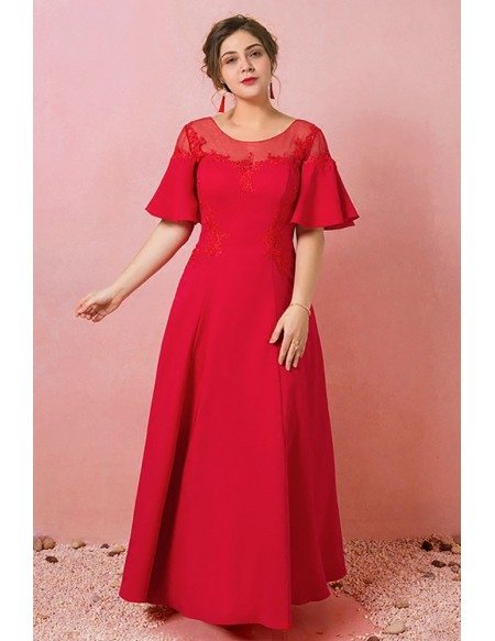 Custom Simple Modest Sheer Neck Long Party Dress with Puffy Sleeves Plus Size High Quality