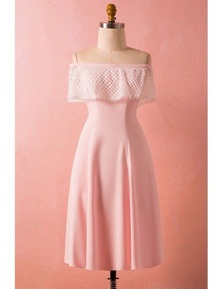 Custom Pink Satin Mid Length Off Shoulder Party Dress High Quality