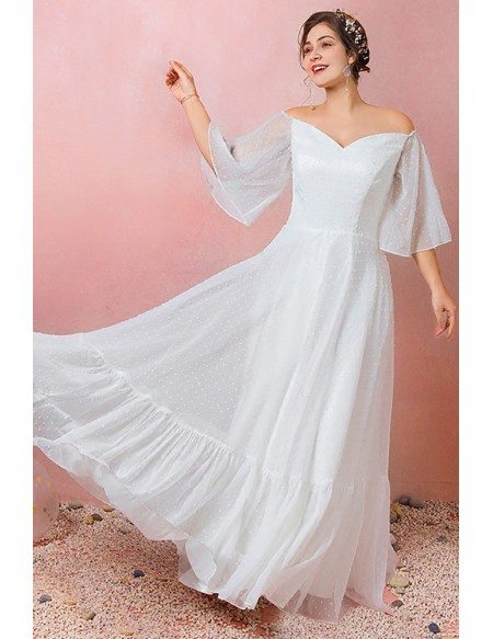 Custom Simple Polka Dot Wedding Reception Dress Plus Size with Puffy Sleeves High Quality