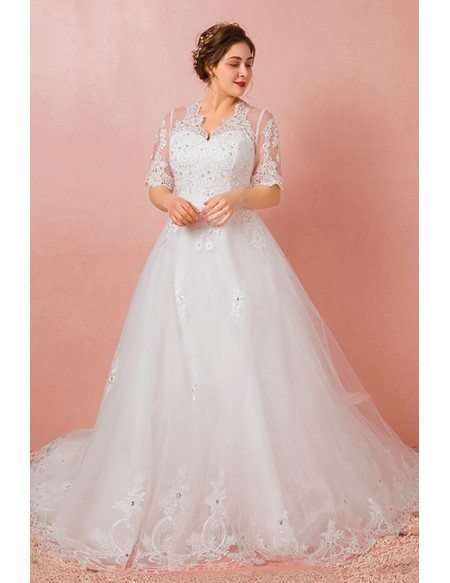 Custom Ivory Beaded Lace Vneck Wedding Dress with Half Sleeves Long Train Plus Size High Quality