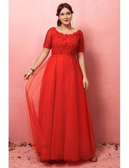 Custom Red Round Neck Long Wedding Party Dress with Flowers Short Sleeves High Quality