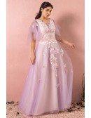 Custom Light Purple Petal Flowers Plus Size Prom Dress with Puffy Sleeves High Quality