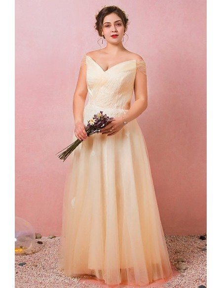 Custom Champagne Yellow Pleated Tulle Wedding Party Dress with Laceup Plus Size High Quality