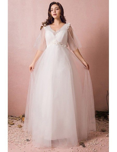 Custom Ivory Empire Beach Tulle Wedding Dress with Puffy Sleeves Plus Size High Quality