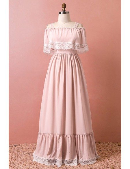 Custom Special Lace Trim Pink Aline Long Party Dress High Quality