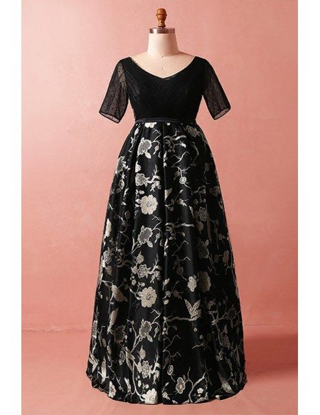 Custom Modest Black Flowers Embroidery Vneck Formal Dress with Short Sleeves High Quality