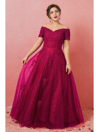 Custom Burgundy Lace Off Shoulder Sleeves Formal Dress Laceup Plus Size High Quality