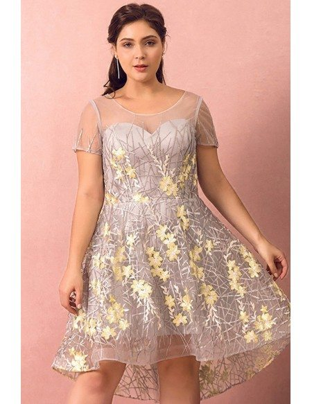 Custom Grey with Yellow Flowers Pretty Short Party Dress with Sheer Short Sleeves High Quality