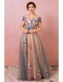 Custom Grey with Pink Flowers Prom Dress Plus Size High Quality
