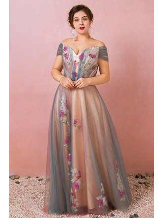 Custom Grey with Pink Flowers Prom Dress Plus Size High Quality