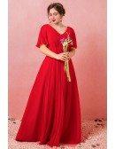 Custom Elegant Pleated Chiffon Vneck Flowy Wedding Party Dress with Puffy Sleeves High Quality
