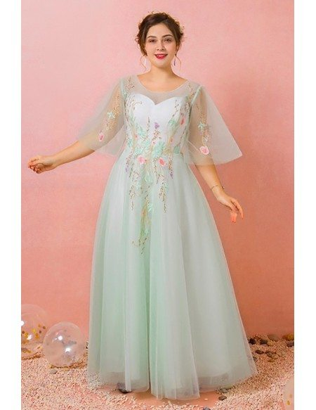 Custom Light Green Tulle Prom Dress with Embroidered Flowers Plus Size High Quality