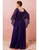 Custom Elegant Purple Formal Long Chiffon Evening Dress Beaded Neck with Cape Sleeves High Quality