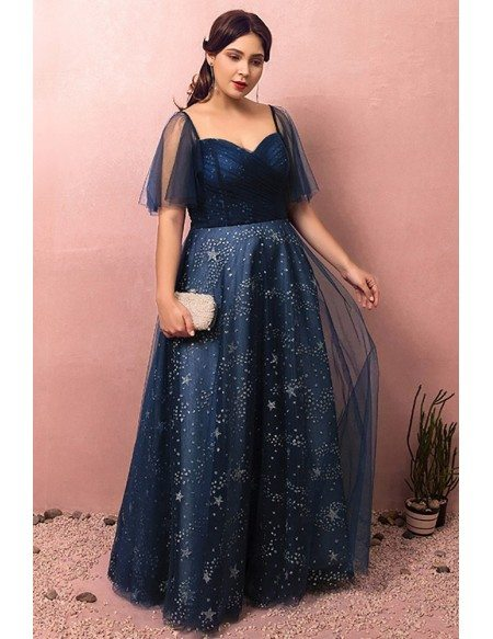 Custom Navy Blue Sparkly Star Prom Dress with Puffy Sleeves Plus Size High Quality