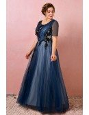 Custom Navy Blue Pleated Tulle Modest Formal Dress with Sheer Sleeves Plus Size High Quality