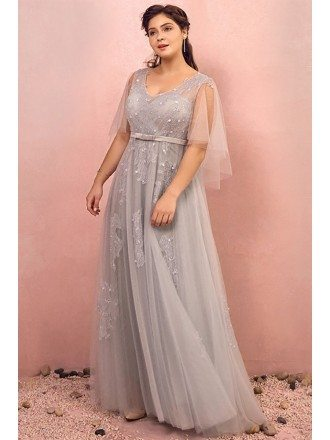 Custom Elegant Long Grey Flowy Tulle Prom Dress with Puffy Sleeves Plus Size High Quality