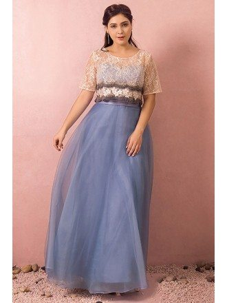 Custom Modest Blue Tulle Party Dress with Removable Lace Jacket High Quality