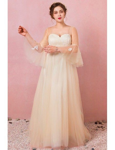 Custom Champagne Yellow Tulle Wedding Party Dress with Bell Sleeves Plus Size High Quality