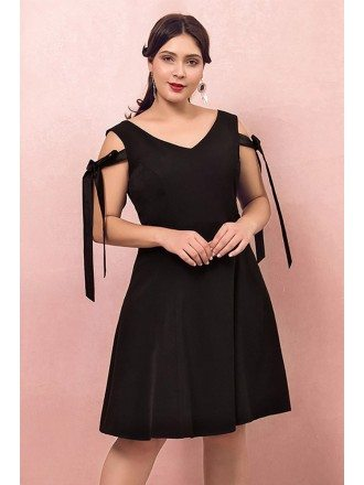 Custom Little Black Chic Short Party Dress with Straps Plus Size High Quality