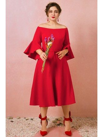 Custom Red Bell Sleeves Mid Length Wedding Party Dress Plus Size High Quality