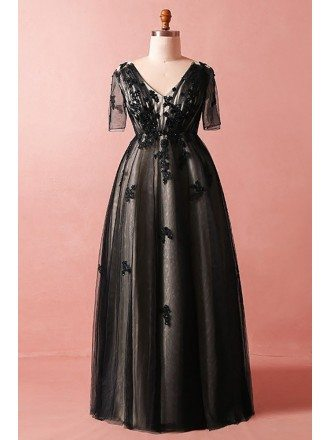 Custom Black Lace Modest Vneck Prom Dress with Illusion Short Sleeves High Quality