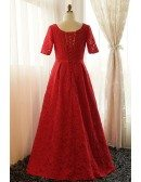 Custom Gorgeous Long Red Full Lace Wedding Party Dress with Short Sleeves Plus Size High Quality