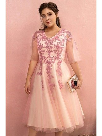 Custom Candy Pink Vneck Wedding Party Dress Laceup with Puffy Sleeves High Quality