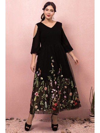 Custom Black Tea Length Modest Party Dress Vneck with Colorful Flowers Embroidery High Quality