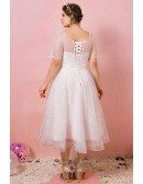 Custom Tea Length Sequined Pattern Modest Wedding Party Dress Plus Size High Quality