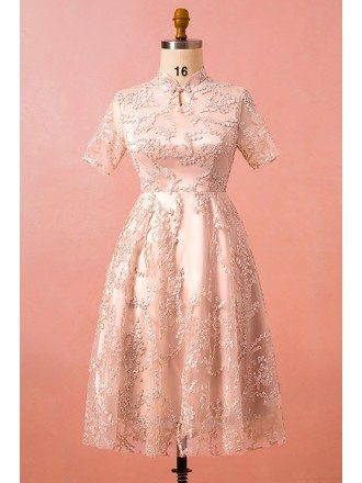 Custom Modest Lace Tea Length Wedding Party Dress with Short Sleeves High Quality
