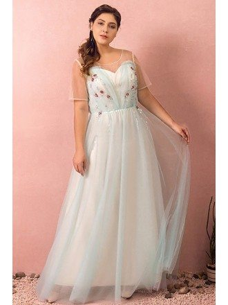 Custom Pretty Light Blue Long Tulle Prom Dress with Modest Sheer Sleeves High Quality