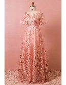 Custom Pink Leaf Embroidery Modest Long Prom Dress with Sleeves High Quality