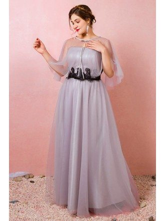 Custom Elegant Grey Long Tulle Wedding Party Dress with Cape Plus Size High Quality