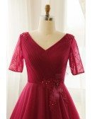 Custom Burgundy Pleated Tulle Wedding Party Dress Vneck with Short Sleeves High Quality