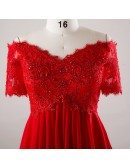 Custom Red Empire Chiffon Sequined Red Lace Formal Dress with Short Sleeves Plus Size High Quality