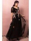 Custom Black Tulle Formal Dress Vneck with Colorful Flowers Embroidery High Quality