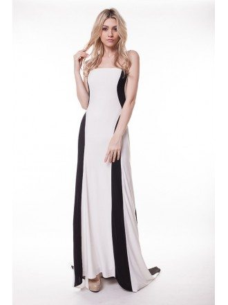 Stylish Mermaid Black and White Strapless Sweep Train Evening Dress