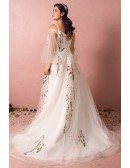 Custom Long Tulle Flowers Embroidery Formal Party Dress with Puffy Sleeves High Quality