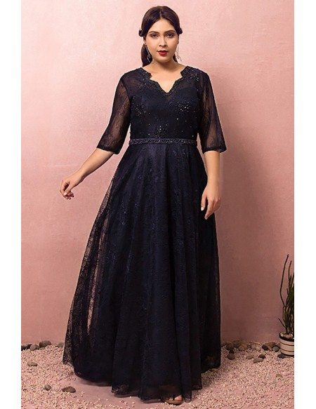 Custom Navy Blue Beaded Lace Formal Party Dress with Vneck Tulle Sleeves Plus Size High Quality