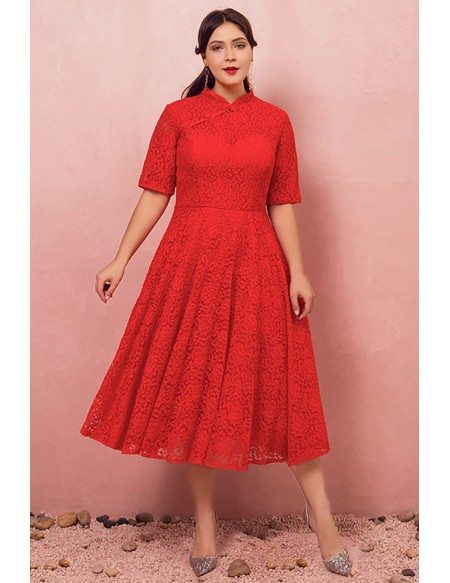 Custom Red Lace Modest Mid Length Wedding Party Dress with Collar Short Sleeves High Quality