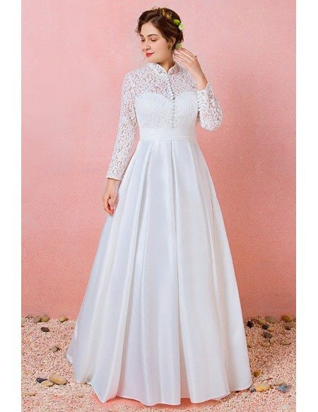Custom Modest Lace Long Sleeves Wedding Dress with Collar Plus Size High Quality