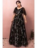Custom Long Black Star Pattern Prom Dress Vneck with Puffy Sleeves High Quality