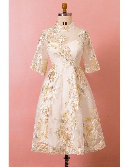 Custom Embroidered Flowers Tea Length Wedding Party Dress with Half Sleeves High Quality