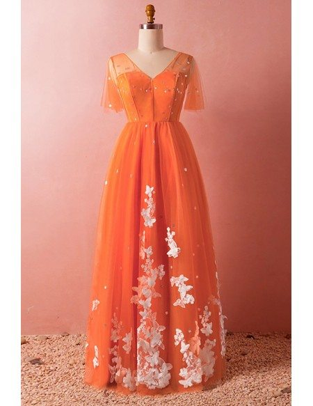 Custom Orange with White Lace Tulle Modest Prom Dress with Sleeves High Quality